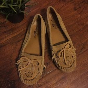 "Lucky Brand ""Archee"" Leather Fringe Moccasins"